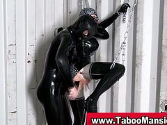 Check this sexy slave wearing a Latex suit while her mistress dildos her pussy into kingdom come.
