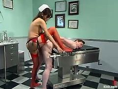Cole Conners the stunning babe in nurse uniform and red stockings bounds a guy right in a hospital room. After that she whips him and toy in the ass.