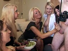 Watch this guy surrounded by horny girls who loves to see his cock.They start laughing and playing with his cock, bu jerking it hard.Enjoy these horny CFNM babes jerking his big cock