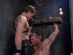 There's some kinky torture in this gay BDSM session where one of the dudes is going to butt fuck the other as he's the dominant force between them.