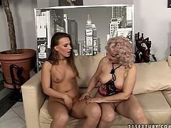 Long haired girl with small tits is going nasty with raunchy blonde granny. First, she gets her pussy licked dry before polishing granny's pussy. Kinky old young lesbian sex vid presented by 21 Sextury.
