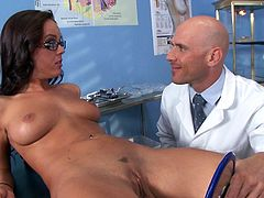 Babe with sexy glasses gets nailed by her doc and made to swallow his jizz