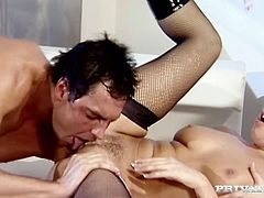 Claudia Rossi and Veronica Da Souza kiss and caress each other and show their fingering skills. Then some guy joins the cuties and they suck and ride his hard schlong by turns.