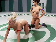 Brunette Isis and blonde Tara fight in this battle like it is the last one. Isis wins this fight, so she stuffs Tara's vagina deep and hard in different poses.