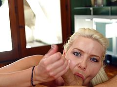 Gorgeous blonde babe knows how to suck a cock in amazing POV style