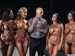 Damn these girls are health nuts! Just take a look at their bodies, so tensed and worked out. Each one of them deserves to win and the jury can't decide. Well, in this case they will have to prove themselves in other ways. Sucking cock down on the knees is a good start!