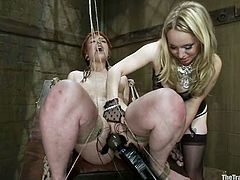 Redhead girl gets tied up and toyed by blonde girl and a guy. Later on Juliette licks Aiden's pussy and toes.