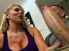 Amazing blonde milf feels amazing with a big cock stretching her shaved twat