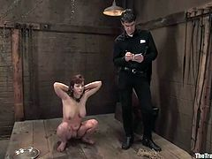 Cherry Torn is playing dirty games with Maestro again. She lets the man put her into irons and pleases him with a handjob after a while.