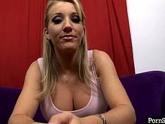 Shabby blond pornstar Barbie Cummings speaks on cam wearing raunchy deep cleavage tank before she takes off her clothes to strip in passionate red lingerie in steamy sex video by Pornstar.