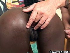 Busty ebony bitch rides hard cock