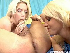Don't skip this exciting threesome sex video featuring two lesbians are polishing cock and anus of one lucky dude. they are eager for his cum juice and jerk off his dick.