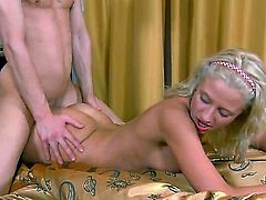 Young smoking hot natural blonde Love with natural boobs and pierce belly button screams while her filthy neighbor fucks her deep in tight hairless cunny all over the bed.