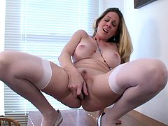 A dirty cock sucking fucking bitch gets naked and sticks a dildo in her pink-ass fucking pussy till she fucking gets off, hit play and check it out!