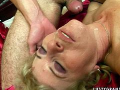 This blonde harlot is one of those women who likes to be fucked hard! Spoiled whore takes her lover's dick up her juicy fanny and rides it in cowgirl position. A few positions later she spreads her legs wide for missionary style pounding. Horny stud drills her twat hard until he cums.