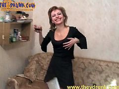 Little black dress on drunk Russian slut