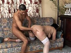 Whorish mature bitch gets her hairy pussy finger fucked and fucked by one young dude living next door. He drills her fat ass in doggy style position and makes her saggy tits bounce.