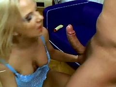 Dude, are you ready to jizz all over the place of delight? Then this Pornstar sex clip is surely for you. Amazing blond haired booty gal gives a solid blowjob while standing on knees and then desires to ride a stiff dick for orgasm right on the couch.