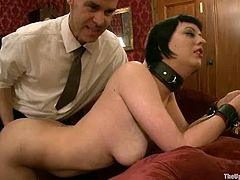 Cherry Torn and Sarah Shevon are servants and sex slaves at the same time. Their master fixes clothespins to their bodies and drill their pussies.