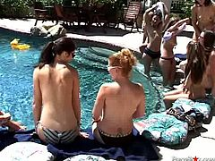 Several sextractive nude babes are pleasing each other in the pool. They like each others gorgeous bodies and give each other eager tongue job.