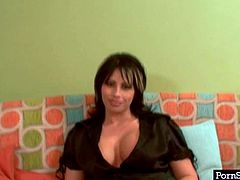 Voluptuous BBW mommy Brooke Haven poses in front of camera