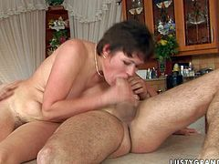 This mature woman likes having her pussy stuffed with a good, stiff cock. She takes it from behind because that's how she cums the best. Since that dick is already hard spoiled whore jumps on top of it and rides it like a pro.