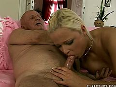 Kinky tanned and slender blond head desires to be fucked from behind. Wondrous cutie with sweet tits sucks gaffer's dick and then begs this old man to fuck her wet fresh pussy from behind.