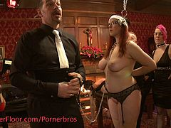 There are many sexy sluts tied up and used at this bdsm sex party. They all have someone to play with.