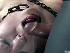 This lusty and horny babe gets calmed down with that huge wooden yoke bar. Babe is so fucking sexcited, when it comes to some torturing session.