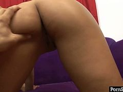 Sextractive long haired Asian hottie stands on her knees giving blowjob to sturdy cock before she tops it for a ride in cowgirl style in sultry pov sex video by Pornstar.