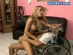 She is wacky blonde slut with appetizing big tits. She has nothing against fucking old men in wheels. So watch her riding cock intensively in filthy old young fuck clip.