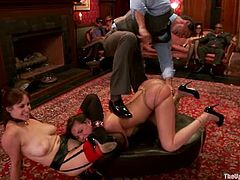 What a hot BDSM gangbang this is! One of the lusts is hogtied, while the other babe licks her twat, being bondaged. Then they get stuffed with toys and cocks!