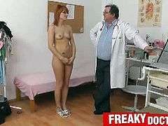 Lucy Bell gets her nasty gyno test from her horny and freaky old doctor. She gets more than just the exam as her pussy gets gaped hard and she has no clue that she's taken advantage of.
