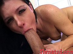 Naughty brunette shakes the ass and then drops to her knees. After that she gives sloppy blowjob and then gets her mouth filled with cum.