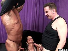 Two dudes fuck face of one gorgeous brunette one by one. They enjoy her playful tongue sliding theirs balls throughout. Watch threesome FMM sex scene right now.