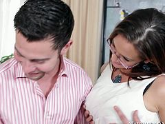 Busty brunette Tory Lane pleases cock of one porn actor Seth Gamble. She stands on her knees and guzzles his stiff cock like greedy. Enjoy steamy pornstar sex video right now.