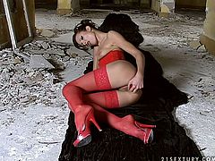 Sextractive woman in red corset and nylon stockings is pleasing her coochie with smooth dildo. After she cums he sucks her man's cock deepthroat. Then she rides the shaft actively.