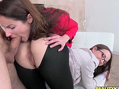 Superb girls in sexy leggings give a blowjob to a naked dude. Then they make holes in their leggings and get fucked hard.