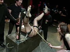 This girl loves to do some crazy stuff in public. She gets gagged and tied up. Later on she gets fucked in both holes.