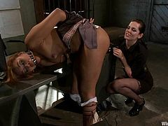 Stunning Latina gets undressed and tied up in an interrogation room. Later on she gets her vagina toyed with a strap-on and an electric dildo.