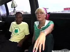 Watch this sexy blonde teen having her tight pink pussy drilled by this guy's black monster cock in the back of the bang bus.