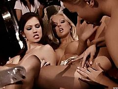 Imagine all these chicks in your place! You'd be gone mad with the sexual power! Babes are having this lesbian orgy for some fun!