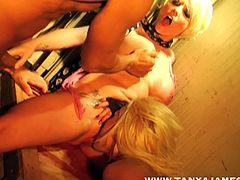 Dirty blondes are having their tight holes drilled in smashing hardcore threesome