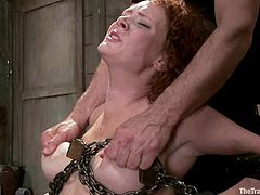 Curly-haired redhead mom Audrey Hollander is playing dirty games with Rob Blu. Rob binds and hangs Audrey up, then beats her and makes her take his dick deep into her mouth.