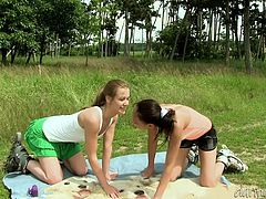This cute blonde and her dirty brunette gf are having a good time roller skating down the road. They get horny and decide to stop so they can make out and fuck. They find a nice secluded place and get naked. Dirty girls!