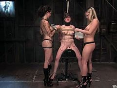 Busty brunette enjoys being tormented by two mistresses