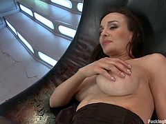 Stunning brunette girl toys her vagina with a vibrator. Later on she gets her soaking pussy drilled deep and hard by the fucking machine.