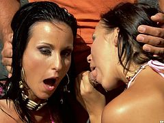 Simonne Style and Sonia Carter share a cock and the cum which they get