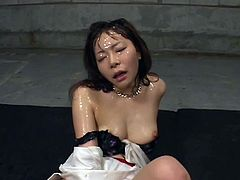 Having tons of jizz over her sweet face makes horny japanese to swallow it all