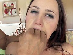 Brown-haired chick Hope Howell lets her man watch her fingering her vag. Then she takes his dick into her mouth and suck it ardently.